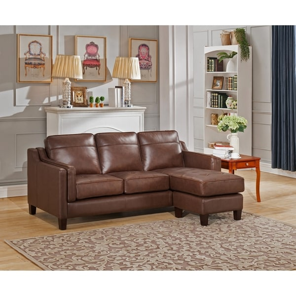 Brown Sectional Sofa With Chaise: Shop Hydeline Acorn Top Grain Leather Reversible Brown