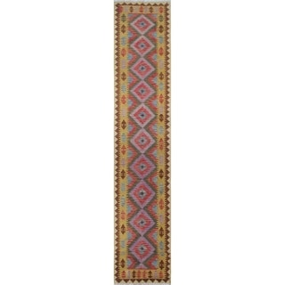 Sangat Kilim Majabein Purple/Gold Runner (2'8 x 15'9)