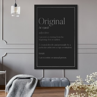 Oliver Gal 'Original Typography SILVER' Typography and Quotes Wall Art Canvas Print - Black, Gray