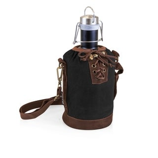 LEGACY® Insulated Black & Brown Growler Tote with 64-oz. Matte Black Stainless Steel Growler