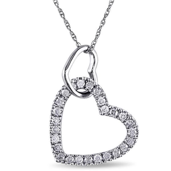 Miadora 10k White Gold 1/4ct TW Diamond Double Heart Pendant