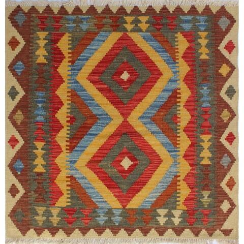 Noori Rug Sangat Kilim Mojeeb Red/Blue Rug - 3'3 x 3'3