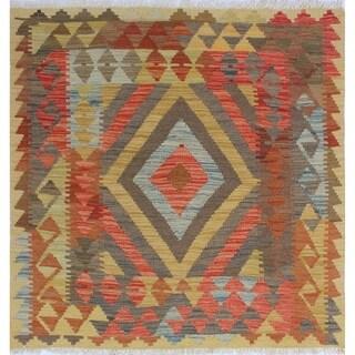 Sangat Kilim Turhan Rust/Blue Rug (3'2 x 3'5)