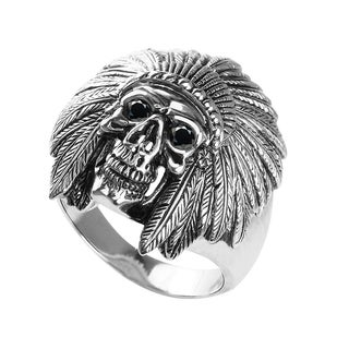 Native American Ring with Empty Grin Horned Helmet