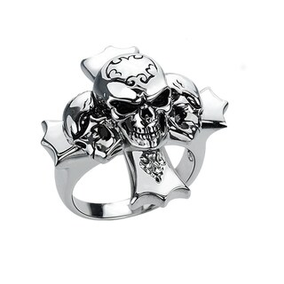 Sterling Silver Skull Ring with Enamel Etching For Halloweens, Father's day, Anniversary and Birthday