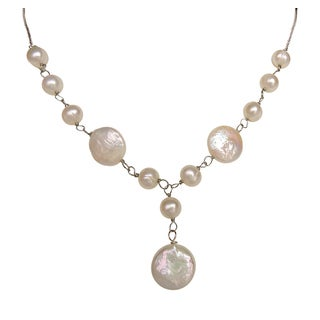 White Coin Pearl Pendant-style Necklace, Bracelet, and Earrings Set