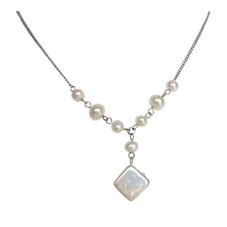 Square and Potato Pearl Necklace, Bracelet, and Earrings (Set of 4)