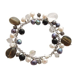Brown Quartz, Pearls, and Crystals Size 7 Bracelet