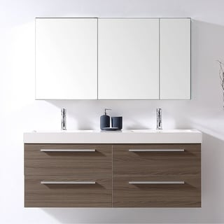 Virtu USA Finley 54 Inch Double Bathroom Vanity Set With Faucet Options