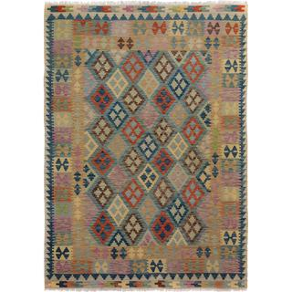 Arshs Fine Rugs Arya Collection Emmett Blue/Gold Wool Hand-woven Rug - 5'7 x 7'11