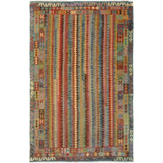 Arshs Fine Rugs Arya Collection Amos Blue/ Beige Wool Handwoven Rug (6'6 x 9'7)