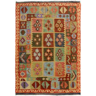 Arshs Fine Rugs Arya Collection Ashley Blue/Gold Handwoven Wool Rug (5'0 x 6'5)