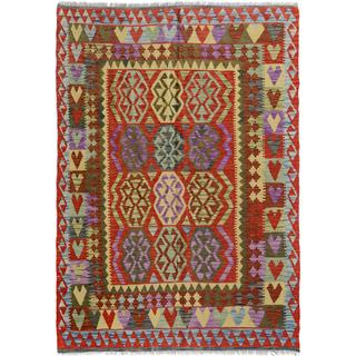Arshs Fine Rugs Arya Collection Bart Blue/Red Wool Handwoven Area Rug - 4'11 x 6'9