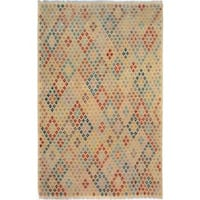 Arshs Fine Rugs Hand-woven Arya Collection Brendan Ivory/ Grey Wool Rug - 6'5 x 9'6