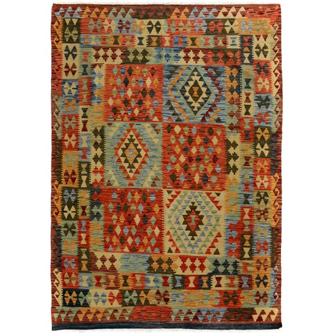 Arshs Fine Rugs Arya Collection Bryce Brown/Red Wool Hand-woven Reversible Southwestern Rug - 5'0 x 6'6