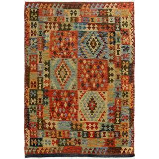 Arshs Fine Rugs Arya Collection Bryce Brown/Red Wool Hand-woven Reversible Southwestern Rug (5'0 x 6'6)