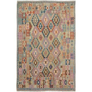 Arshs Fine Rugs Arya Collection Cary Grey/ Blue Wool Hand-woven Kilim Flatweave Rug (6'6 x 9'8)|https://ak1.ostkcdn.com/images/products/17213000/P23470616.jpg?impolicy=medium