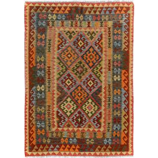 Arshs Fine Rugs Arya Collection Chase Red/Blue Wool Hand-woven Southwestern Area Rug (4'11 x 6'10)