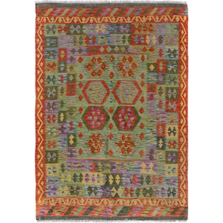 Arshs Fine Rugs Arya Collection Curt Green/Gold Wool Hand-woven Rug - 4'11 x 6'7