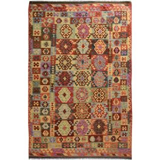 Arshs Fine Rugs Arya Collection Darius Red/ Gold Wool Handwoven Rug (6'6 x 9'10)