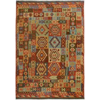 Arshs Fine Rugs Arya Collection Darwin Grey/ Rust Wool Handwoven Rug (6'6 x 9'8)