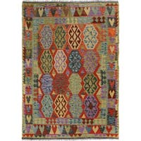 Arshs Fine Rugs Arya Collection Derick Handwoven Blue/Beige Wool Rug - 5'0 x 6'7