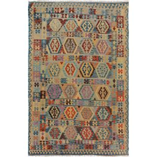 Arshs Fine Rugs Arya Collection Domingo Blue/Beige Handwoven Wool Rug (6'5 x 9'7)