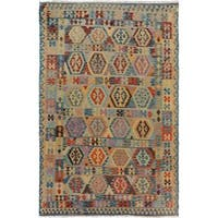 Arshs Fine Rugs Arya Collection Domingo Blue/Beige Handwoven Wool Rug - 6'5 x 9'7