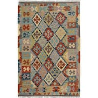 Arshs Fine Rugs Arya Collection Dominick Handwoven Grey/Blue Wool Rug - 3' x 5'