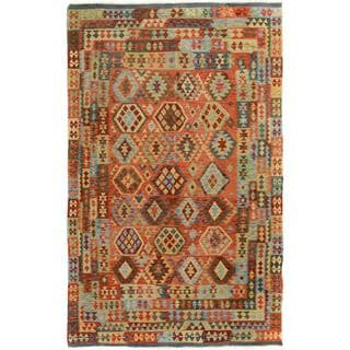Arshs Fine Rugs Arya Collection Dylan Grey/Blue Wool Hand-Woven Rug (6'4 x 10')