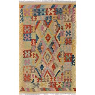 Arshs Fine Rugs Arya Collection Edmond Beige/Blue Handwoven Wool Kilim Rug - 3' x 5'