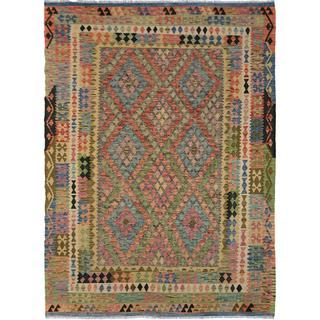 Arshs Fine Rugs Arya Collection Elbert Blue/Grey Wool Handwoven Rug (6'9 x 9'5)