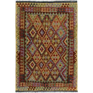 Arshs Fine Rugs Arya Collection Eldon Gold/Red Wool Hand-woven Reversible Southwestern Area Rug (4'10 x 6'3)