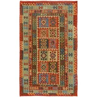 Arshs Fine Rugs Arya Collection Ethan Red/ Blue Wool Hand-woven Rug (5'3 x 7'11) - 5' x 8'