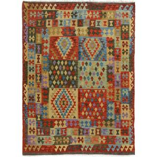 Arshs Fine Rugs Arya Collection Hans Red/Grey Handwoven Wool Rug - 4'11 x 6'2