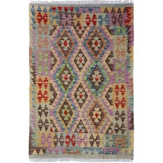 Arshs Fine Rugs Arya Collection Jess Grey/Blue Wool Handwoven Area Rug (3'2 x 4'7)