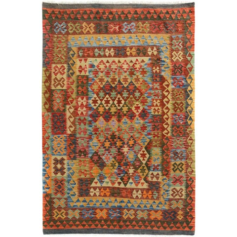Arshs Fine Rugs Arya Collection Kendall Grey/Red Handwoven Wool Rug - 4'9 x 6'4
