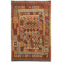 Arshs Fine Rugs Arya Collection Kendall Grey/Red Handwoven Wool Rug (4'9 x 6'4)