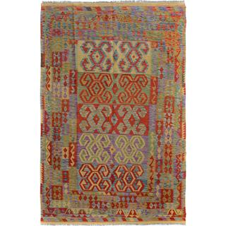 Arshs Fine Rugs Arya Collection Jarrod Gold/Red Wool Hand-Woven Rug - 6'5 x 9'8