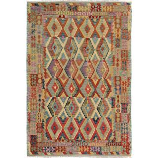 Arshs Fine Rugs Arya Collection Lamar Blue/Red Wool Rug (6'7 x 9'7)