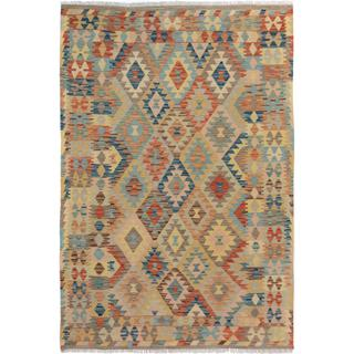 Arshs Fine Rugs Arya Collection Phil Grey/Blue Wool Handwoven Area Rug - 4'10 x 6'8