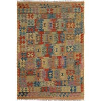 Arshs Fine Rugs Arya Collection Marlon Tan/Blue Wool Handwoven Area Rug - 5' x 6'6