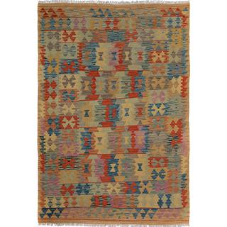 Arshs Fine Rugs Arya Collection Marlon Tan/Blue Wool Handwoven Area Rug (5' x 6'6)