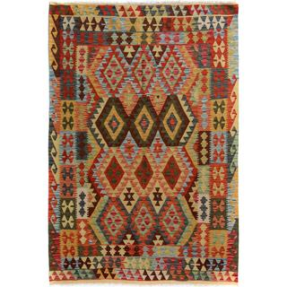Arshs Fine Rugs Handwoven Arya Collection Norbert Gold/Rust Wool Rug (4'11 x 6'7)