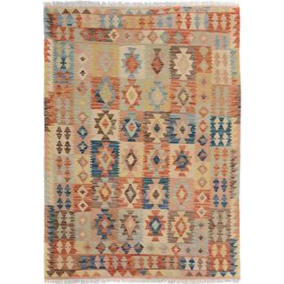 Arshs Fine Rugs Arya Collection Reynaldo Gold/Rust Wool Handwoven Rug (4'11 x 6'7)