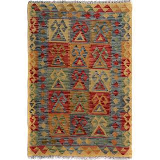 Arshs Fine Rugs Arya Collection Rodrigo Gold/Blue Wool Handwoven Rug (2'10 x 4'1)