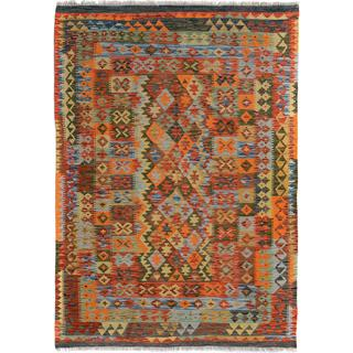 Arshs Fine Rugs Arya Collection Rickie Blue/Orange Wool Kilim Hand-woven Rug - 4'10 x 6'9
