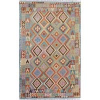 Arshs Fine Rugs Handwoven Arya Collection Rogelio Blue/Grey Wool Rug (6'6 x 9'10)