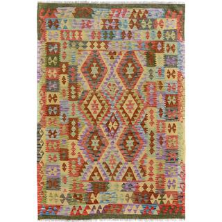 Arshs Fine Rugs Hand-woven Arya Collection Roscoe Green/ Grey Wool Rug (4'10 x 6'7)