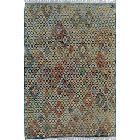 Arshs Fine Rugs Arya Collection Santiago Blue/Rust Handwoven Wool Rug (6'6 x 9'6)